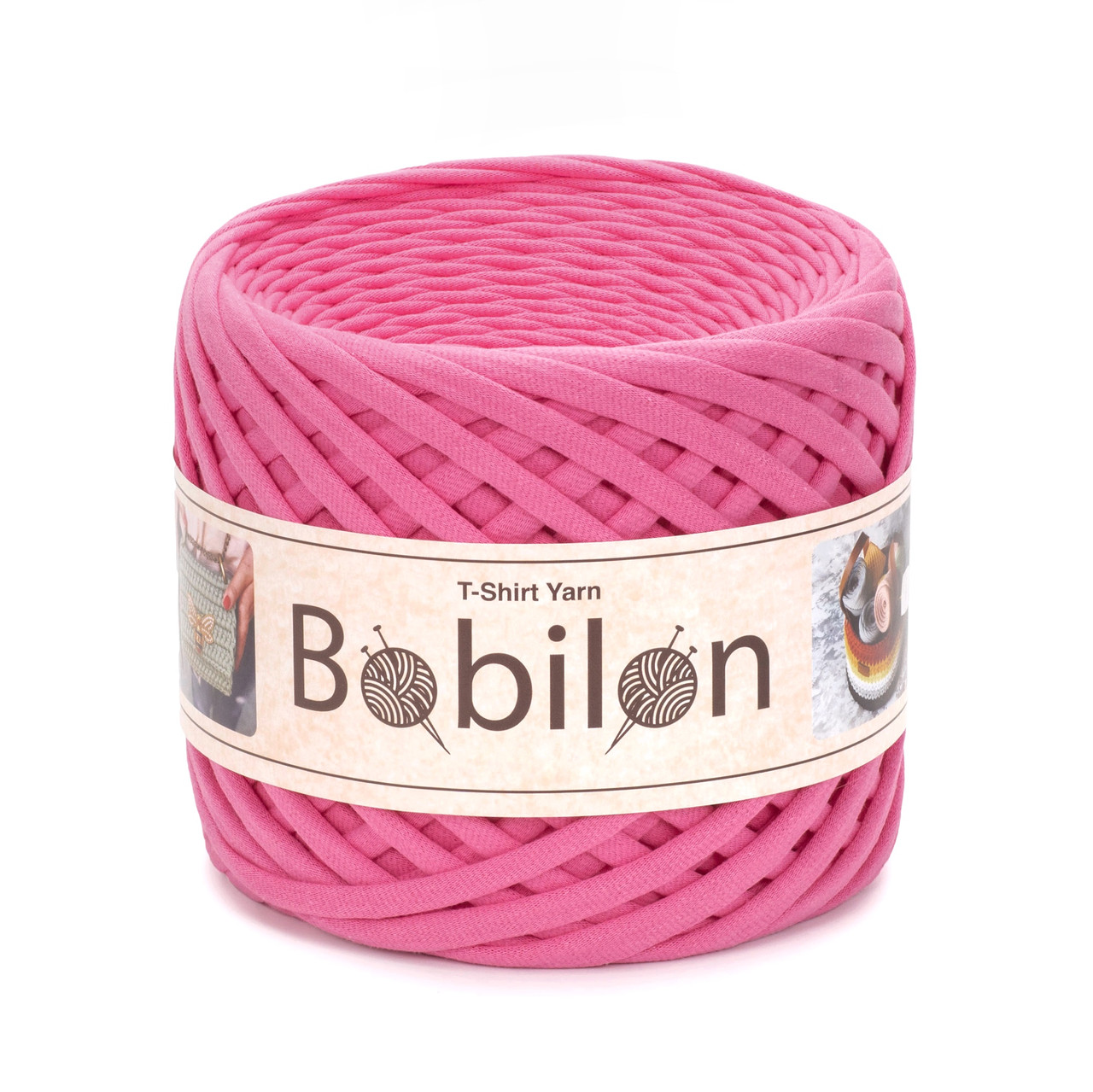 Трикотажная пряжа Bobilon Maxi (9-11мм). Flamingo Розовый Фламинго