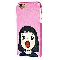 Чехол Leon для iPhone 6 розовый с девочкой