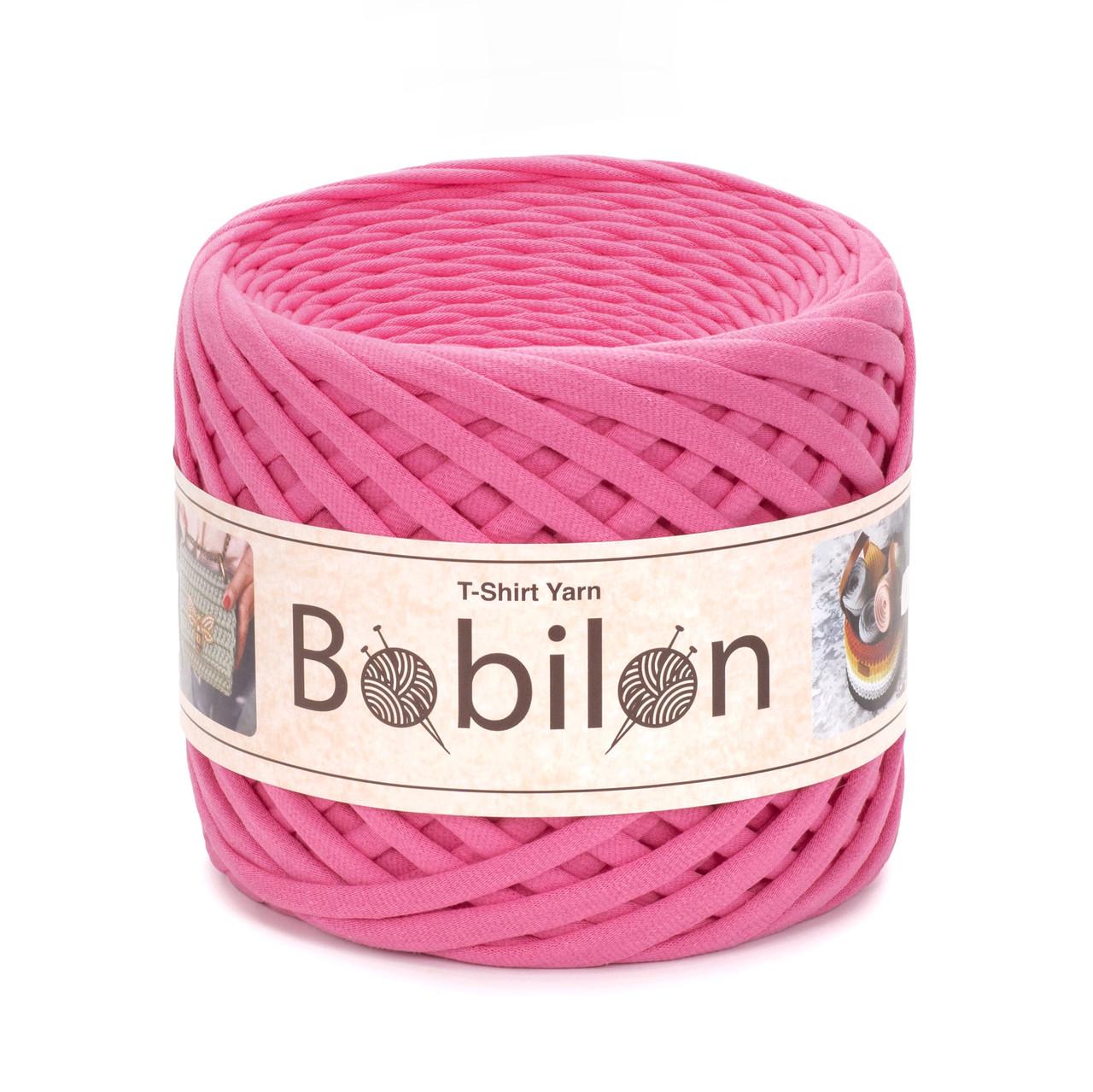 Пряжа трикотажна Bobilon Mini (5-7мм). Рожевий Фламінго
