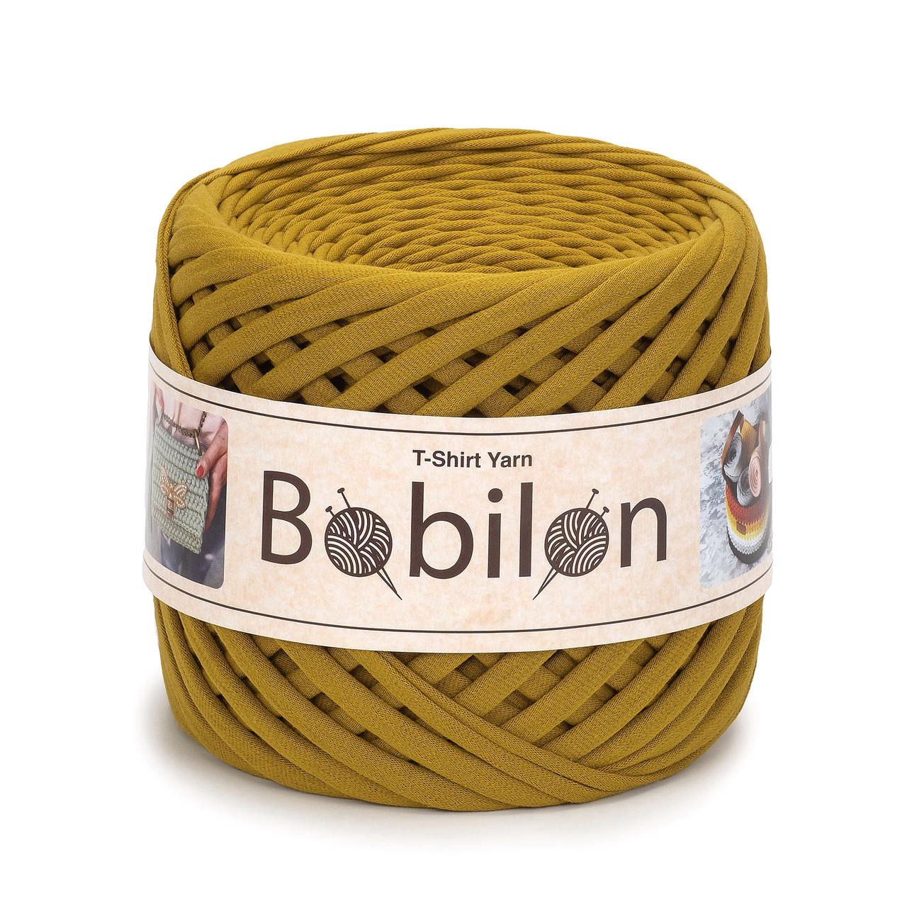 Пряжа трикотажна Bobilon Mini (5-7мм). Golden Lime
