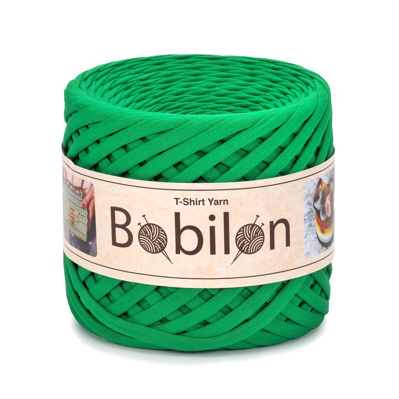 Трикотажная пряжа Бобилон Micro (3-5 мм). Green Island Изумруд