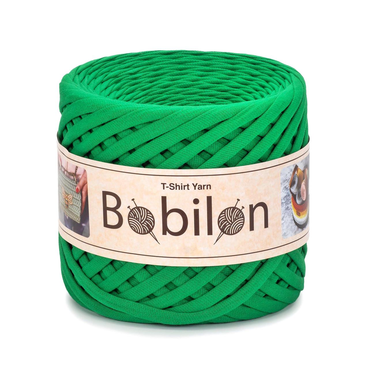 Трикотажная пряжа Bobilon Maxi (9-11 мм). Green Island Изумруд
