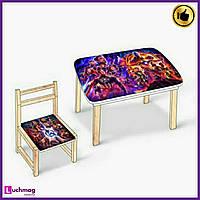 """Детский разноцветный столик - пенал со стульчиком для творчества """"Мстители"""""""