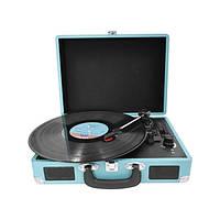 """Проигрыватель для виниловых пластинок ретро BST 990002 """"AudioCase"""" голубой"""