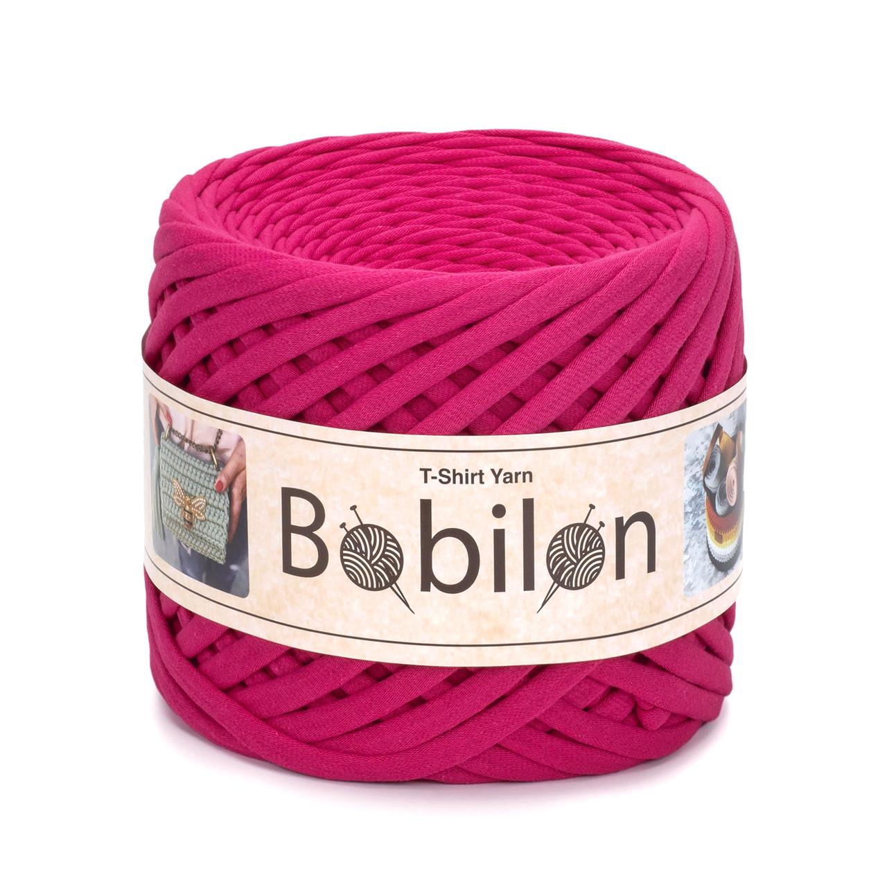 Ленточная пряжа Bobilon Mini (5-7 мм). Hot Pink Малиновый