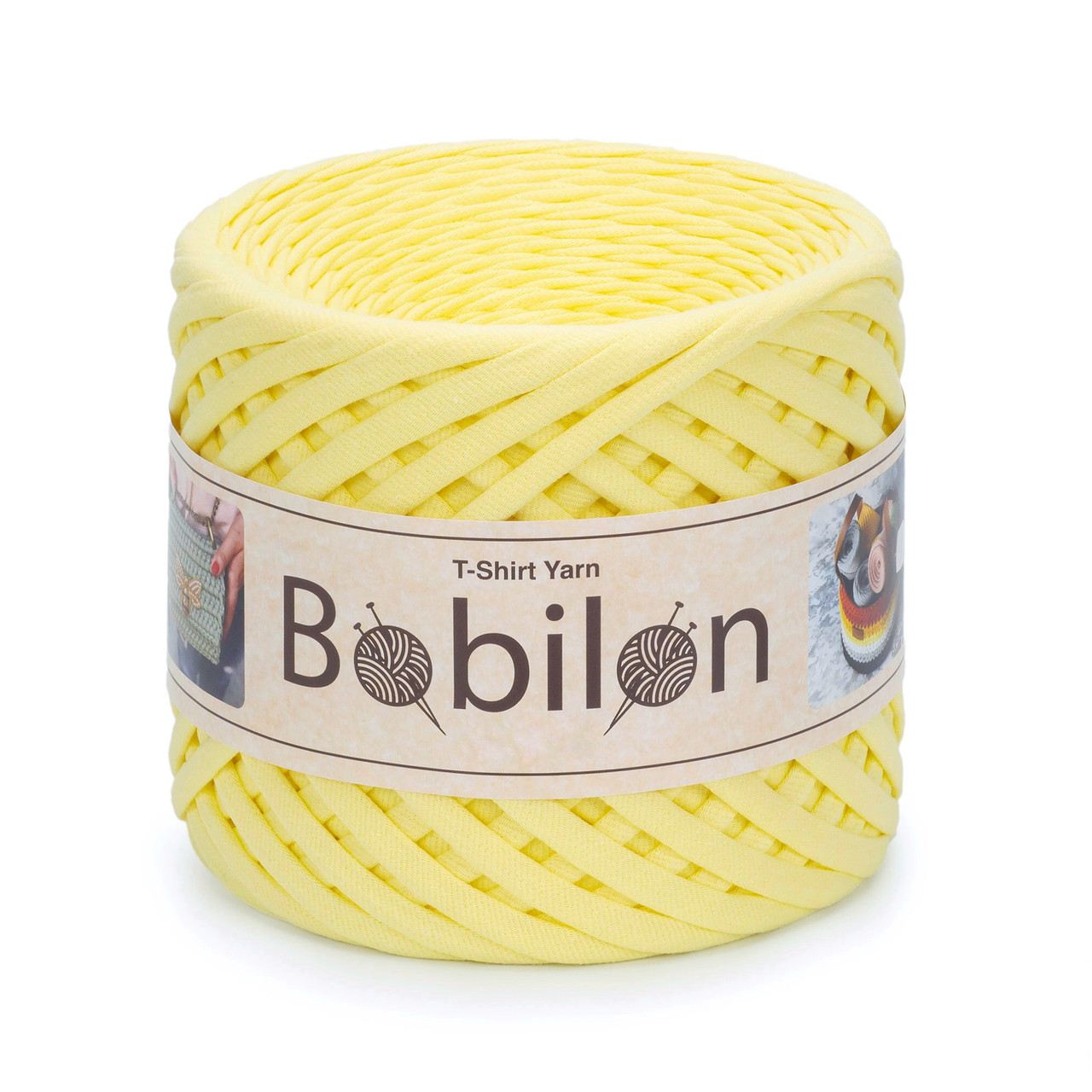 Трикотажная пряжа Бобилон Micro (3-5мм). Lemon Лимонный
