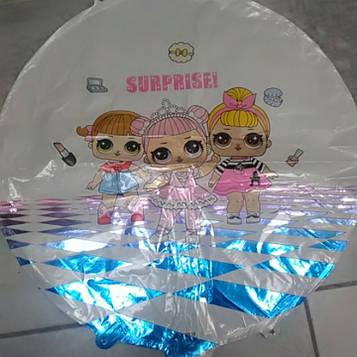 Воздушный шарик круг фольгированный с рисунком кукла лол 1шт