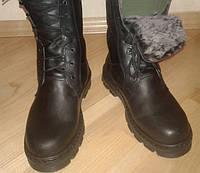 Ботинки-берцы кожаные прошитые зимние на цигейке р.45, 46