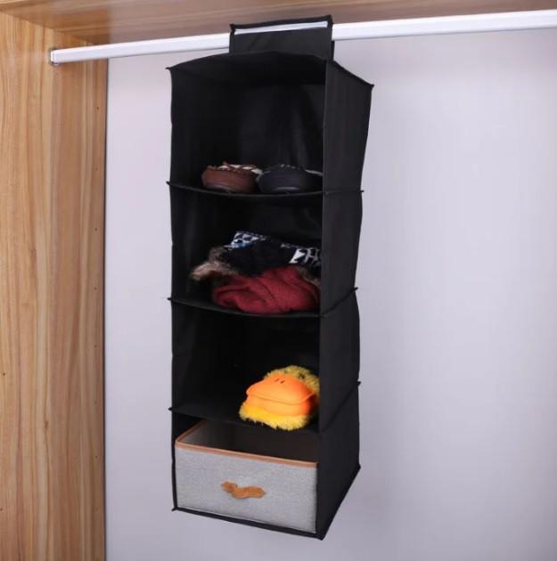 Подвесные полки (модуль в шкаф на 4 полочки) для хранения вещей (Чехол для текстиля)