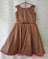"""Детское нарядное платье для девочки """"Блеск"""" 6-8 лет, коричневого цвета"""