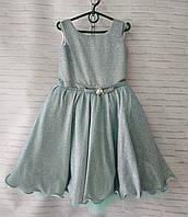 """Детское нарядное платье для девочки """"Блеск"""" 6-8 лет, серого цвета"""