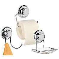 Набор аксессуаров для ванной комнаты и туалета (мыльница, держатель для туалетной бумаги, двойной крючок)