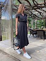 Платье женское летнее в горошек чёрное, красное, белое, бежевое, 42-44, 44-46, 46-48, 48-50