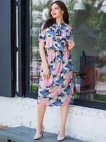 Летнее приталенное платье для похода на работу размеры 50, 52