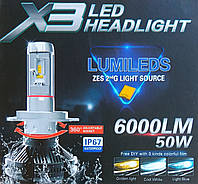 Лампы LED X3 Headlight platinum H7 6500k 6000Lm 50w