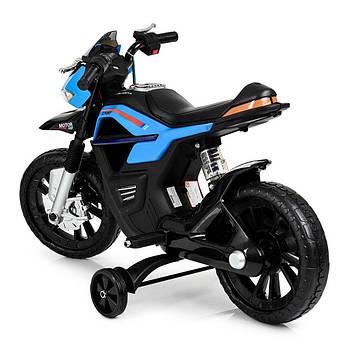 Детский электрический мотоцикл Bambi на аккумуляторе со страховочными колёсиками синий