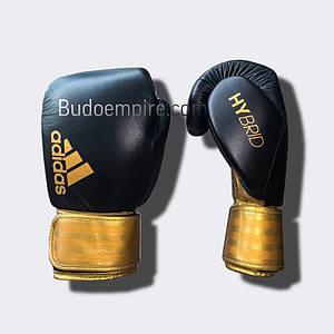 """Боксерські рукавички Adidas """"Hybrid 200"""" (чорний/золотий, ADIH200BR) 16 унцій"""