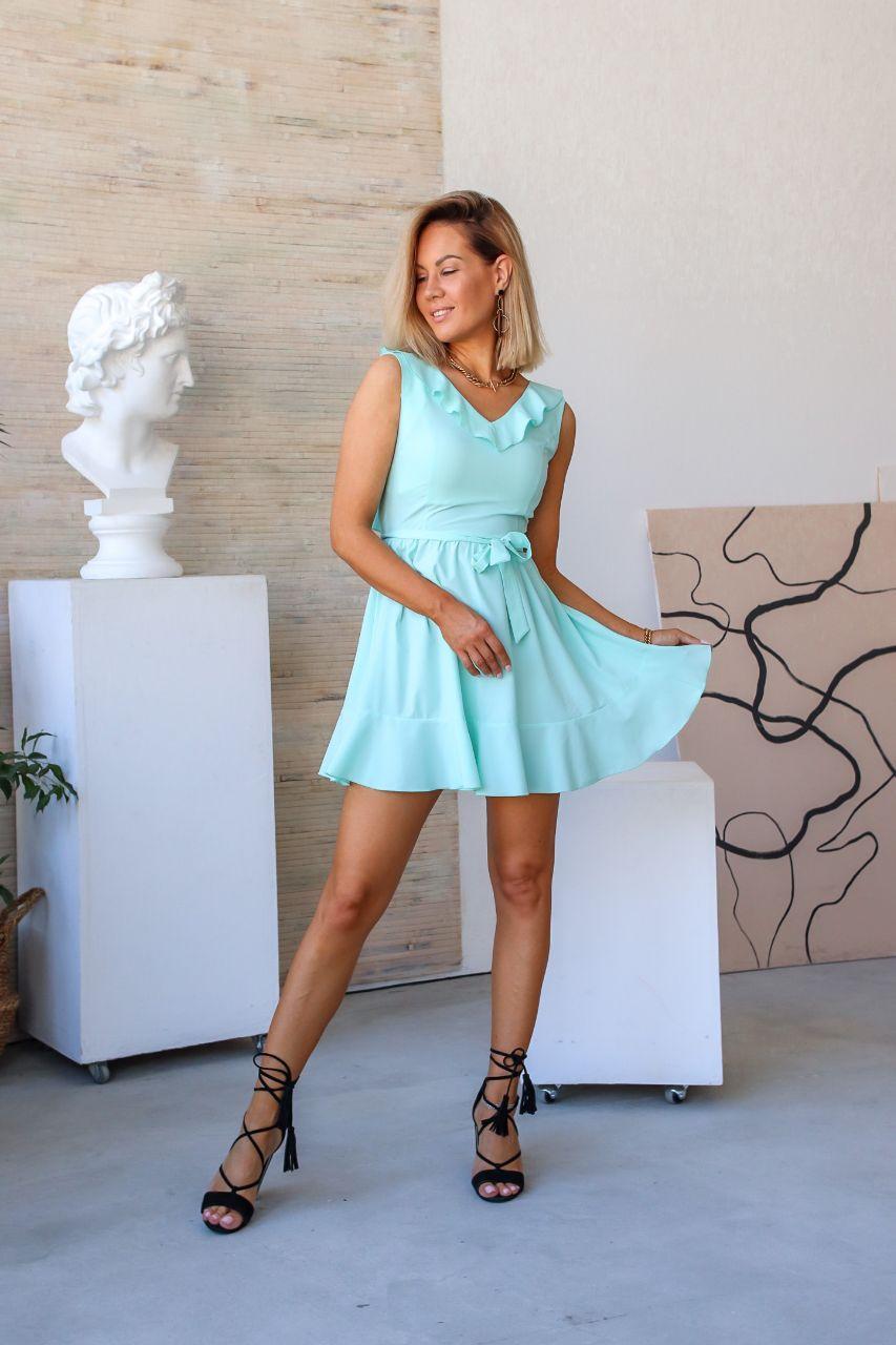 Платье летнее с открытой спиной NOBILITAS 42 - 48 голубой софт принт (арт. 20026)