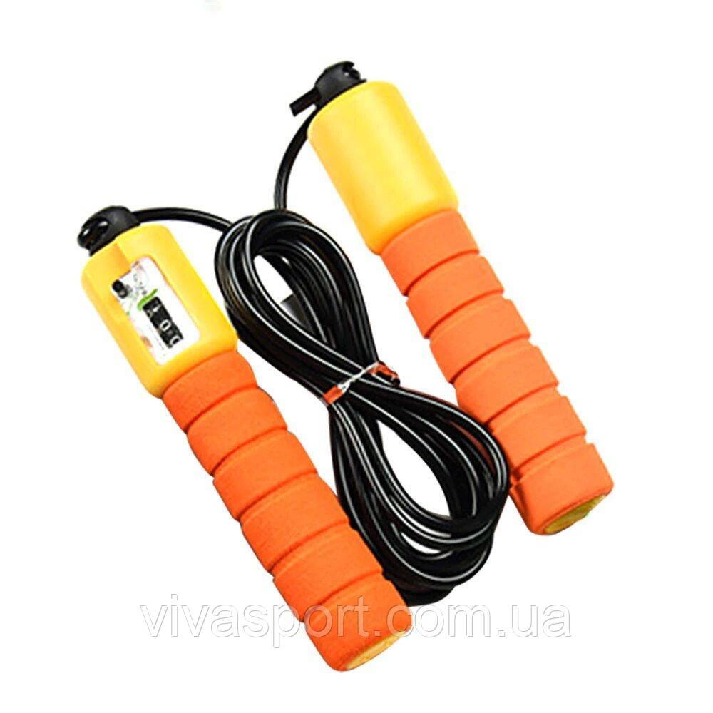 Спортивная скакалка со счетчиком, цвет оранжевый