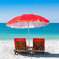 🔝 Садовой складной зонтик с наклоном , красный, большой пляжный зонт от солнца 1.75 м с доставкой   | 🎁%🚚