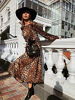 Сукня стрічки міді шовк Армані коричневий леопард S-M L-XL|платье миди шелк Армани коричневый 42-44 46-48
