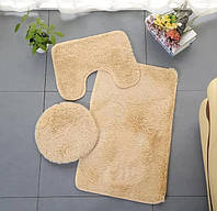 Набор ковриков для ванной комнаты и туалета 3 шт (Текстиль для ванной)