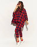 Женский костюм двойка штаны и кофта свободного фасона коттон стрейч принт клетка размер:50,52,54,56, фото 5