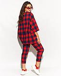 Женский костюм двойка штаны и кофта свободного фасона коттон стрейч принт клетка размер:50,52,54,56, фото 4