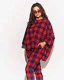Женский костюм двойка штаны и кофта свободного фасона коттон стрейч принт клетка размер:50,52,54,56, фото 6