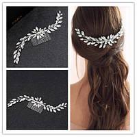 Гребень-декор для волос с камнями и стразами 20*2см, фото 1