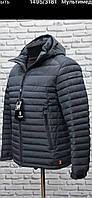 Мужская куртка (осень-весна)демисезонная стеганная короткая матовая синяя фирмы TIGER FORSE