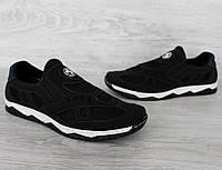 40 і 43 р. Кросівки чоловічі чорні сітка на гумку мокасины (Кс-35чб)