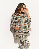 Женский костюм двойка штаны и кофта свободного фасона коттон стрейч принт клетка размер:50,52,54,56, фото 7