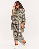 Женский костюм двойка штаны и кофта свободного фасона коттон стрейч принт клетка размер:50,52,54,56, фото 2