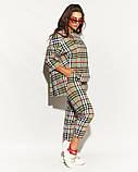 Женский костюм двойка штаны и кофта свободного фасона коттон стрейч принт клетка размер:50,52,54,56, фото 8