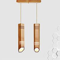 Люстра на две лампы в виде трубок из дерева  LIZA-2  Е27 светильник лофт  LS0000506