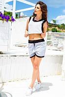 Женский стильный трикотажный костюм: шорты и топ, фото 1