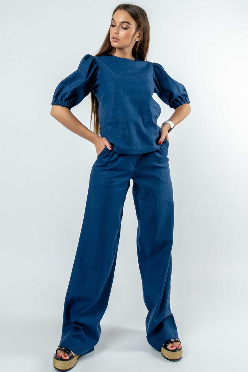 Элегантный брючный костюм из натурального льна Barli sher (42–52р) т.синий, фото 1