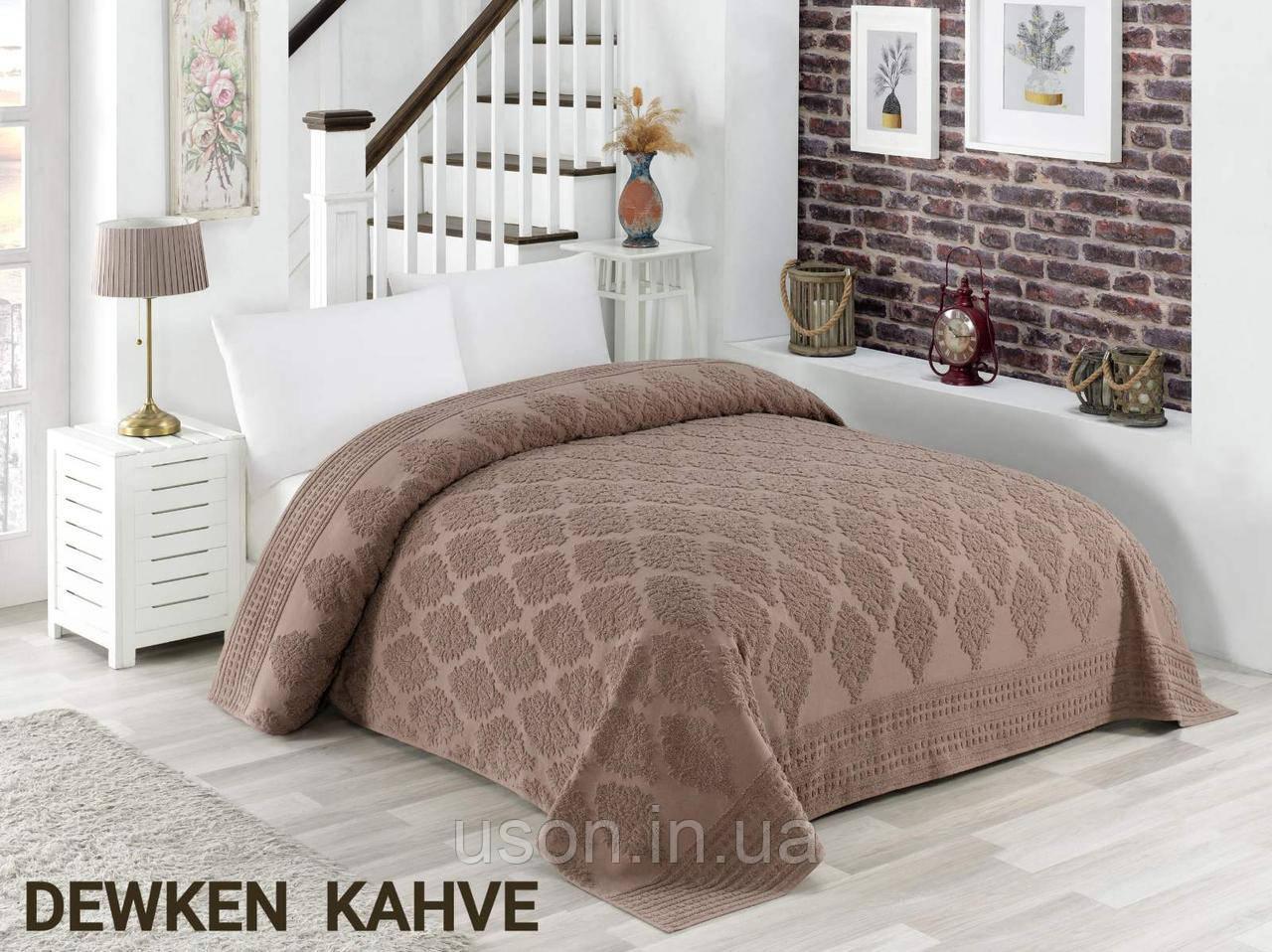 Турецкая махровая хлопковая простынь  Tм Zeron Dewken коричневая