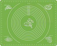 Силиконовый антипригарный коврик для выпечки и раскатки теста 50x40 см VOLRO Зеленый vol-332, КОД: 1717496