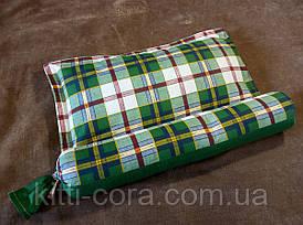 Ортопедическая подушка для сна из бязи с валиком для шеи. Наполнитель гречневая шелуха (лузга). Размер 52х40см