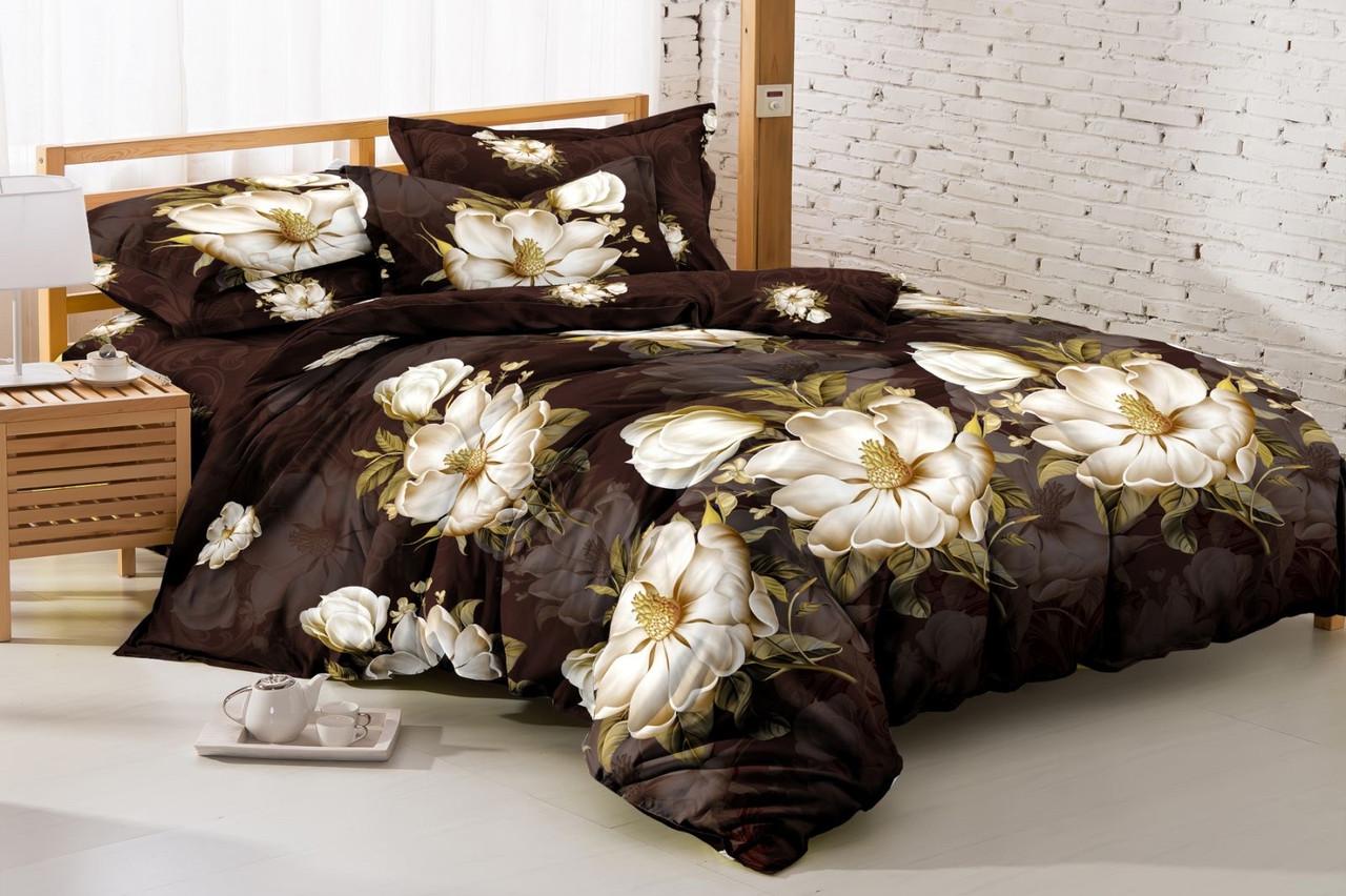 """Комплект постельного белья из ранфорса ТМ """"Ловец снов"""", Лилия на коричневом"""