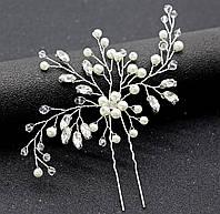 Шпилька для волос с цветком жемчугом, камнями, бисером 14*11см, фото 1