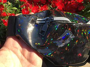 Поясная женская сумка с блестками,черного цвета