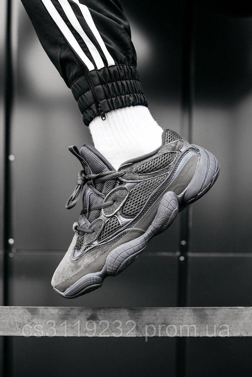Мужские кроссовки Adidas Yeezy 500  Utility Black (черные)