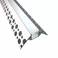 Профиль для светодиодной ленты YF121-2 (2м) с рассеивателем, для гипсокартона внешний угол