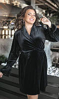 Стильное женское бархатное платье с длинным рукавом длины миди черного цвета    большого размера XL-5XL