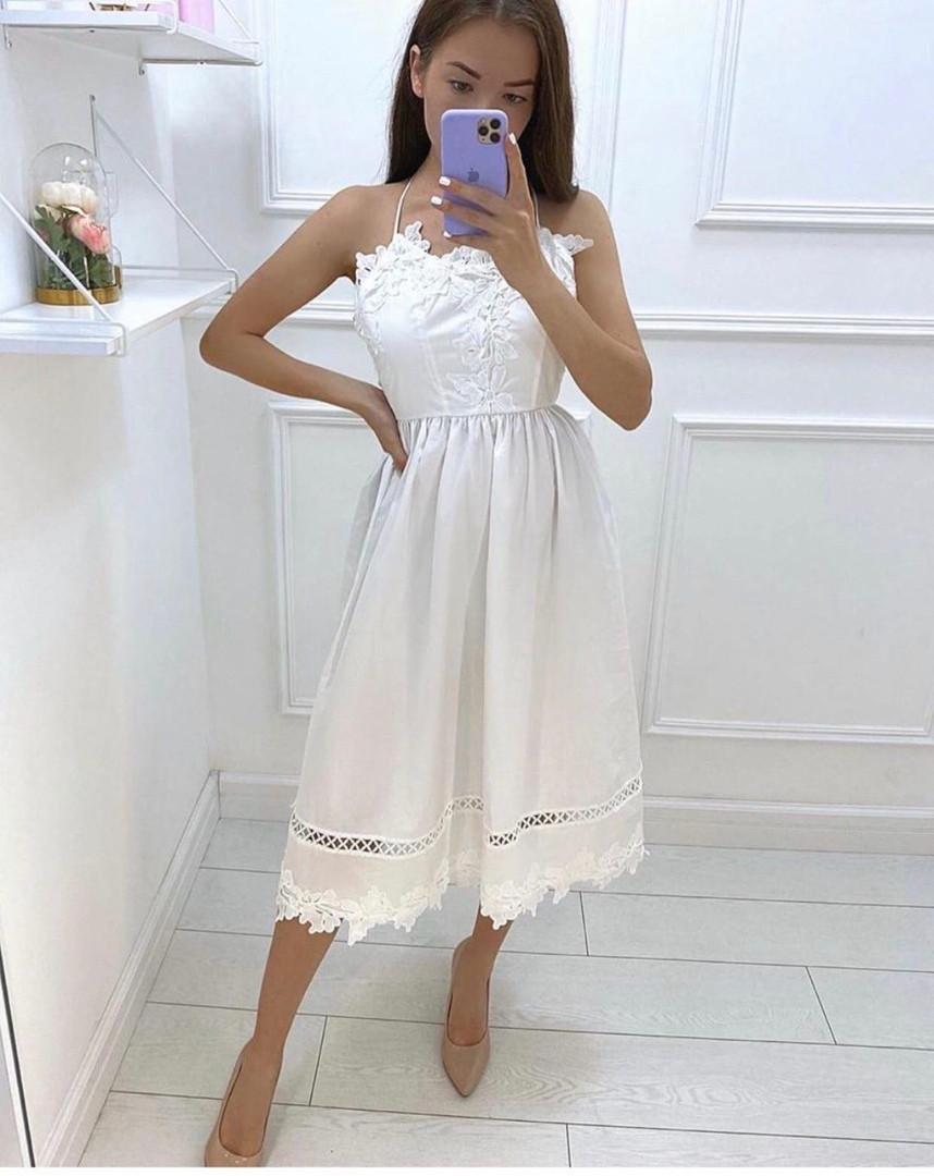 Нежное платье-сарафан с завышенной талией и ажурной кружевной отделкой,ткань-хлопок, 4цвета Р-р.S, M Код 630Т