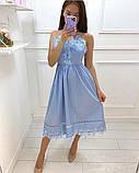 Нежное платье-сарафан с завышенной талией и ажурной кружевной отделкой,ткань-хлопок, 4цвета Р-р.S, M Код 630Т, фото 4