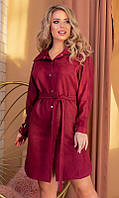 Стильное женское платье длины миди с длинным рукавом бордового цвета XL 2XL